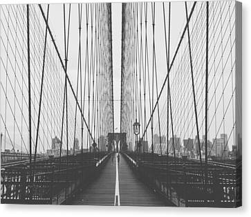 Morning On The Brooklyn Bridge Canvas Print by Mountain Dreams