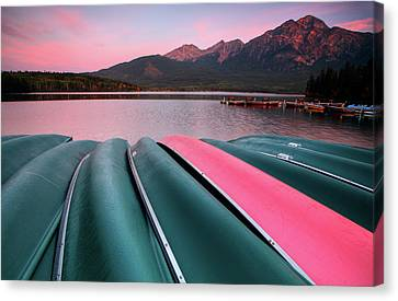 Morning View Of Pyramid Lake In Jasper National Park Canvas Print by Mark Duffy
