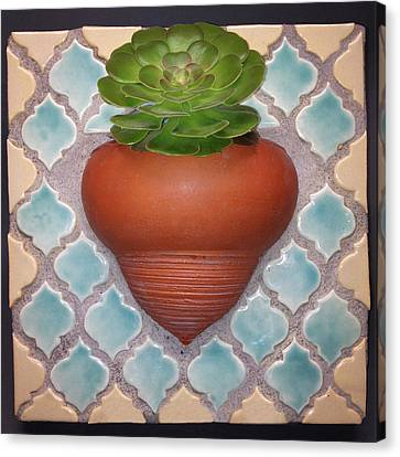 Moroccan Mosaic With Aeonium Canvas Print by Evelyn Taylor Designs