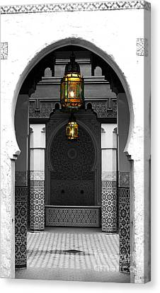 Moroccan Style Doorway Lamps Courtyard And Fountain Color Splash Black And White Canvas Print by Shawn O'Brien