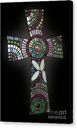 Mosaic Cross #1 Canvas Print by Adriana Zoon