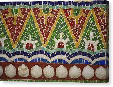 Mosaic Fountain Pattern Detail 4 Canvas Print by Teresa Mucha