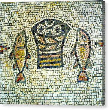 Mosaic Of Loaves And Fishes Canvas Print by Daniel Blatt