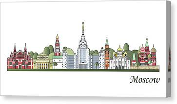 Moscow Skyline Colored Canvas Print by Pablo Romero