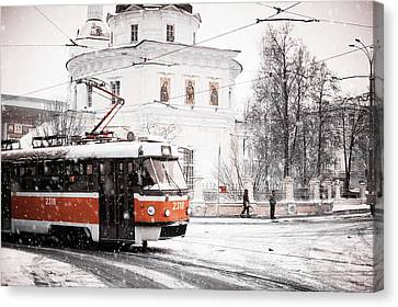 Moscow Tram. Snowy Days In Moscow Canvas Print by Jenny Rainbow