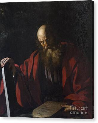 Moses With The Tables Of The Law By Guercino Canvas Print by Roberto Morgenthaler