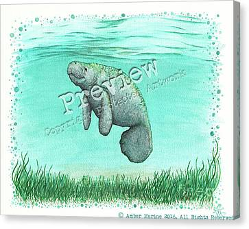 Mossy Manatee Canvas Print by Amber Marine