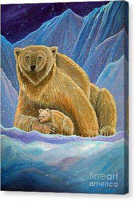 Mother And Baby Polar Bears Canvas Print by Nick Gustafson