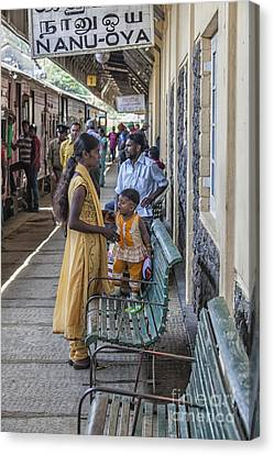 Mother And Child At Train Station In Sri Lana Canvas Print by Patricia Hofmeester
