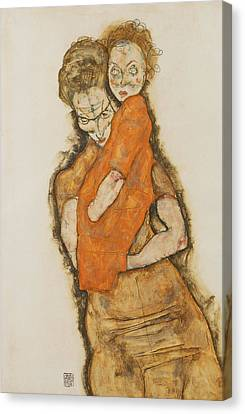 Mother And Child Canvas Print by Egon Schiele