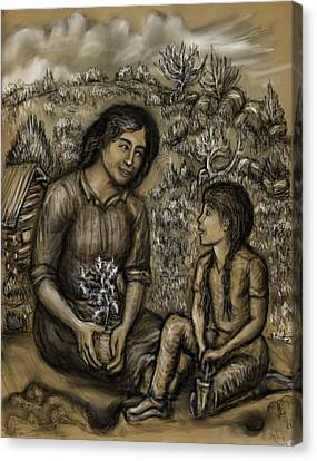 Mother And Daughter In The Garden Canvas Print by Dawn Senior-Trask