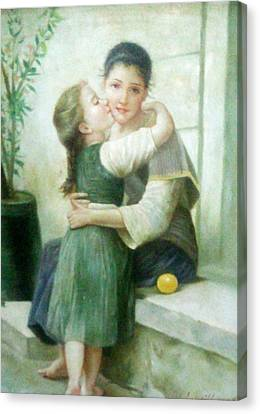 Mother And Daughter Canvas Print by Unique Consignment