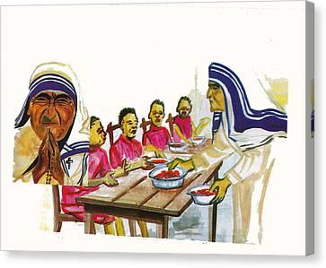 Mother Teresa Canvas Print by Emmanuel Baliyanga