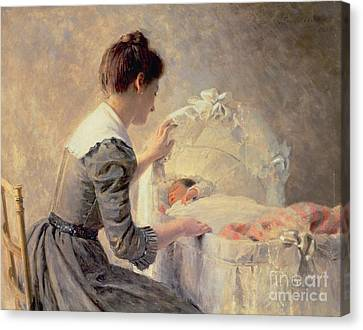 Motherhood Canvas Print by Louis Emile Adan