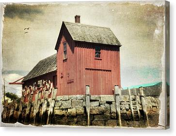 Motif No1 - Red Fishing Shack - Rockport Canvas Print by Joann Vitali