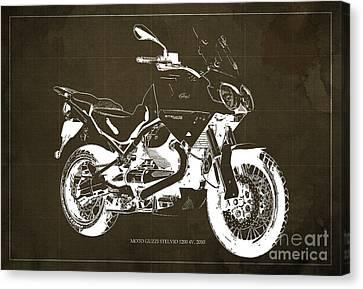 Moto Guzzi Stelvio 1200 4v 2010, Brown Blueprint Canvas Print by Pablo Franchi