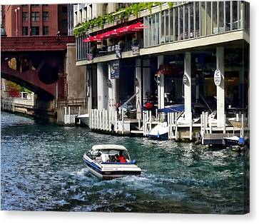 Motorboat Near Dearborn Street Bridge Canvas Print by Susan Savad