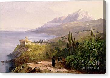 Mount Athos And The Monastery Of Stavroniketes Canvas Print by Edward Lear