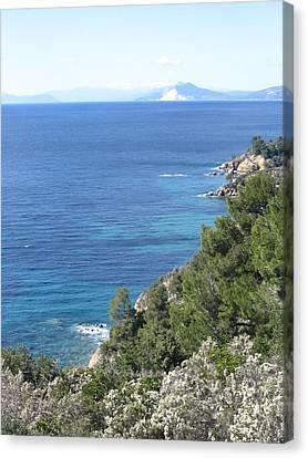 Mount Pelion From Skiathos Island Greece Canvas Print by Yvonne Ayoub
