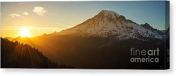Mount Rainier Evening Light Rays Canvas Print by Mike Reid