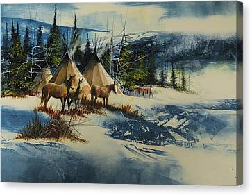 Mountain Camp Canvas Print by Robert Carver