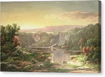 Mountain Lake Near Piedmont Canvas Print by William Sonntag