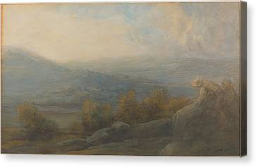 Mountain Landscape With Two Figures At The Right Canvas Print by Alphonse Legros