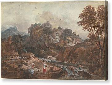 Mountain Landscape With Washerwomen And A Fisherman Canvas Print by Francesco Zuccarelli
