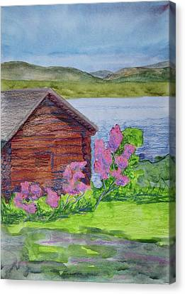 Mountain Laurel By The Cabin Canvas Print by Bethany Lee