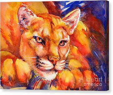 Mountain Lion Red-yellow-blue Canvas Print by Summer Celeste