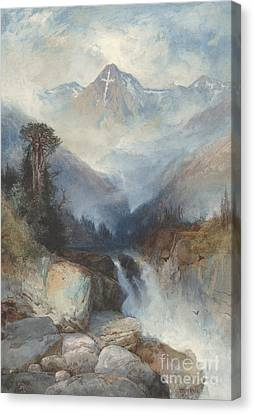 Mountain Of The Holy Cross Canvas Print by Thomas Moran
