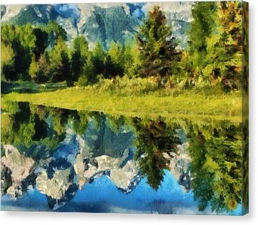 Mountain Reflections Canvas Print by Russ Harris