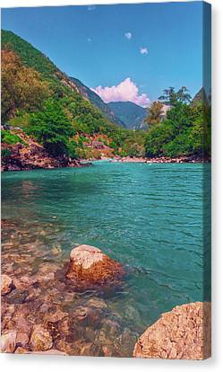 mountain river carries clean cold water into the Black sea Canvas Print by George Westermak