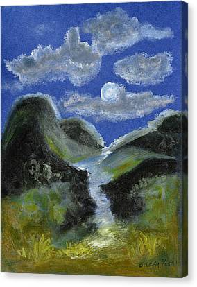 Mountain Spring In The Moonlight Canvas Print by Donna Blackhall