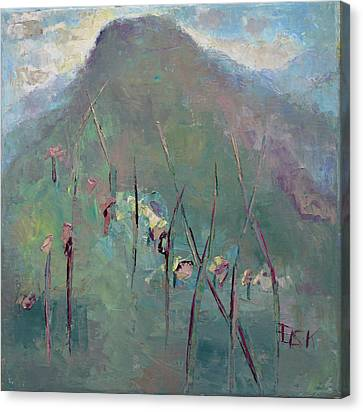 Mountain Visit Canvas Print by Becky Kim