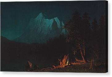 Mountainous Landscape By Moonlight Canvas Print by Albert Bierstadt