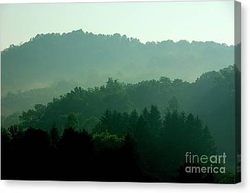 Mountains And Mist Canvas Print by Thomas R Fletcher