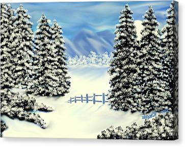 Mountains In The Winter Canvas Print by Debra Lynch