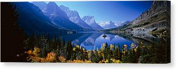Mountains Reflected In Lake, Glacier Canvas Print by Panoramic Images