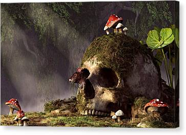 Mouse In A Skull Canvas Print by Daniel Eskridge