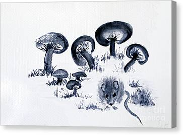 Mouse N Mushrooms Canvas Print by Sibby S