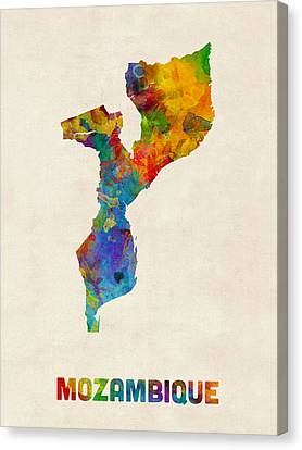 Mozambique Watercolor Map Canvas Print by Michael Tompsett