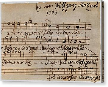Mozart: Motet Manuscript Canvas Print by Granger