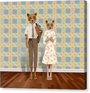 Mr. And Mrs. Fox Canvas Print by Rachel Mindes