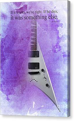 Dr House Inspirational Quote And Electric Guitar Purple Vintage Poster For Musicians And Trekkers Canvas Print by Pablo Franchi