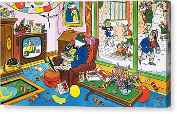 Mr Toad Watching Television Canvas Print by English School