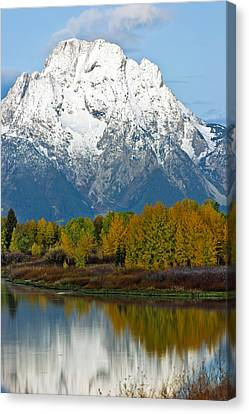 Mt Moran From Ox Bow Bend Canvas Print by Gary Langley