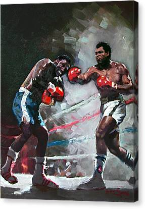 Muhammad Ali And Joe Frazier Canvas Print by Ylli Haruni