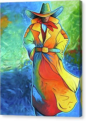Multi Color Cowboy Canvas Print by Lance Headlee