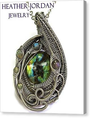 Multi-colored Labradorite Wire-wrapped Pendant In Antiqued Sterling Silver Labpss1 Canvas Print by Heather Jordan